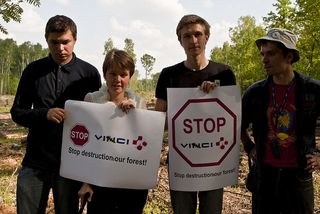 Protestors in the Khimki Forest